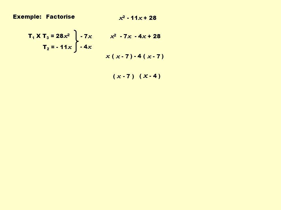 - 4 ( ) Exemple:Factorise x 2 - 11 x + 28 T 1 X T 3 = 28 x 2 T 2 = - 11 x - 7 x - 4 x x 2 - 7 x - 4 x + 28 x ( ) x - 7 ( x - 4 ) ( x - 7 )