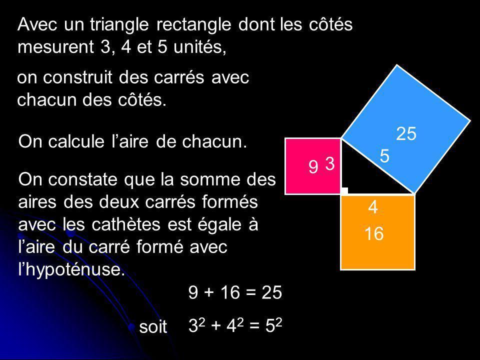 a b c a2a2 b2b2 c2c2 En remplaçant par des lettres Relation de Pythagore : Le carré de la mesure de lhypoténuse est égal à la somme des carrés des mesures des cathètes.