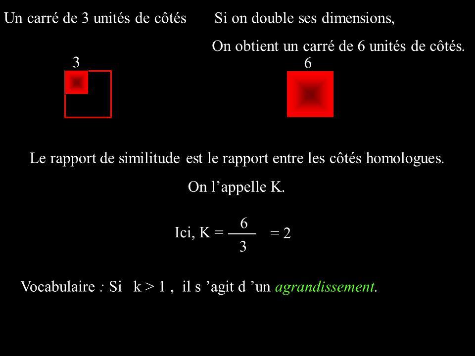 Un carré de 3 unités de côtésSi on double ses dimensions, Le rapport de similitude est le rapport entre les côtés homologues. On lappelle K. 3 6 Ici,