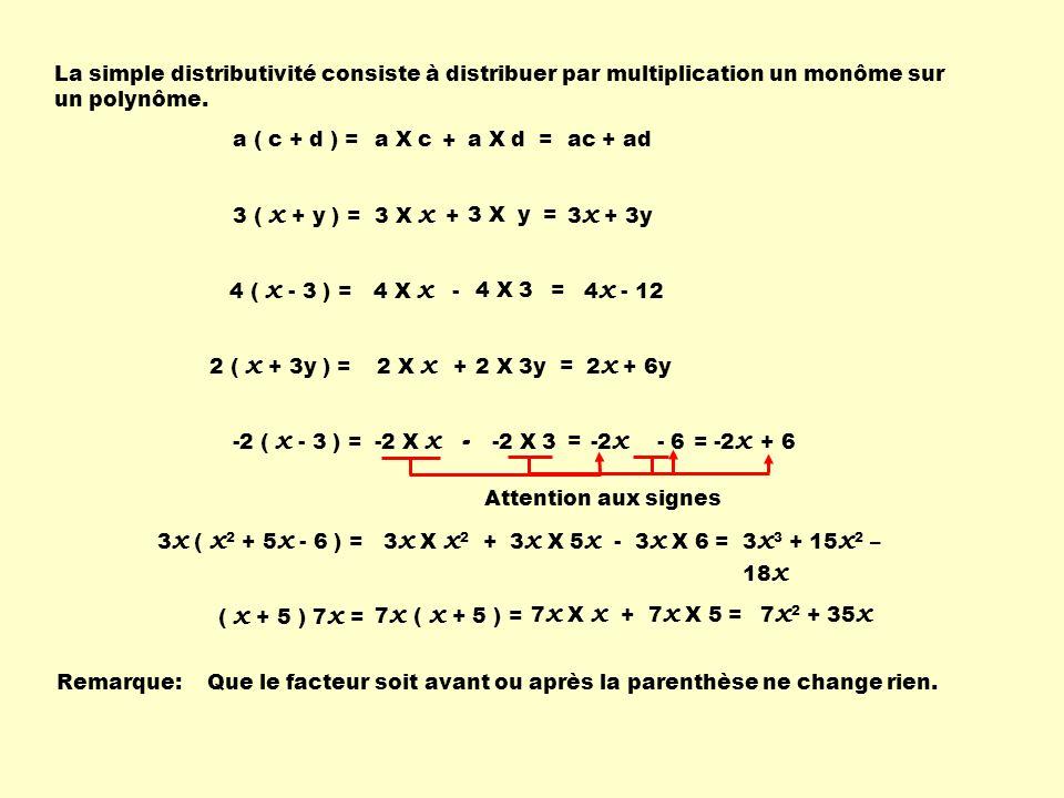 -2 X 3 La simple distributivité consiste à distribuer par multiplication un monôme sur un polynôme. a ( c + d ) = 3 ( x + y ) = a X cac + ad 3 X x 3 x