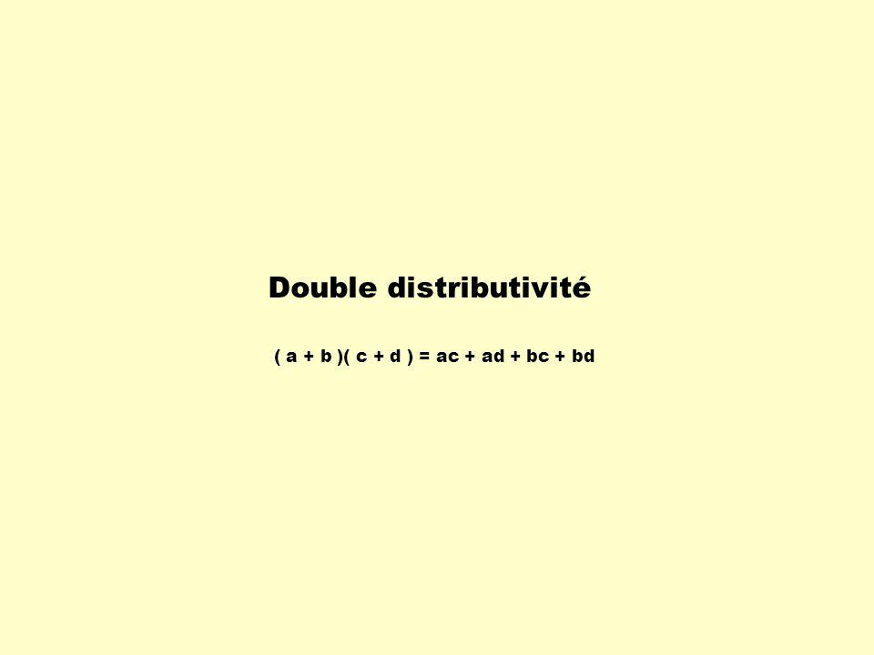 Lorsquon effectue une simple distributivité ou une double distributivité, on développe lexpression.