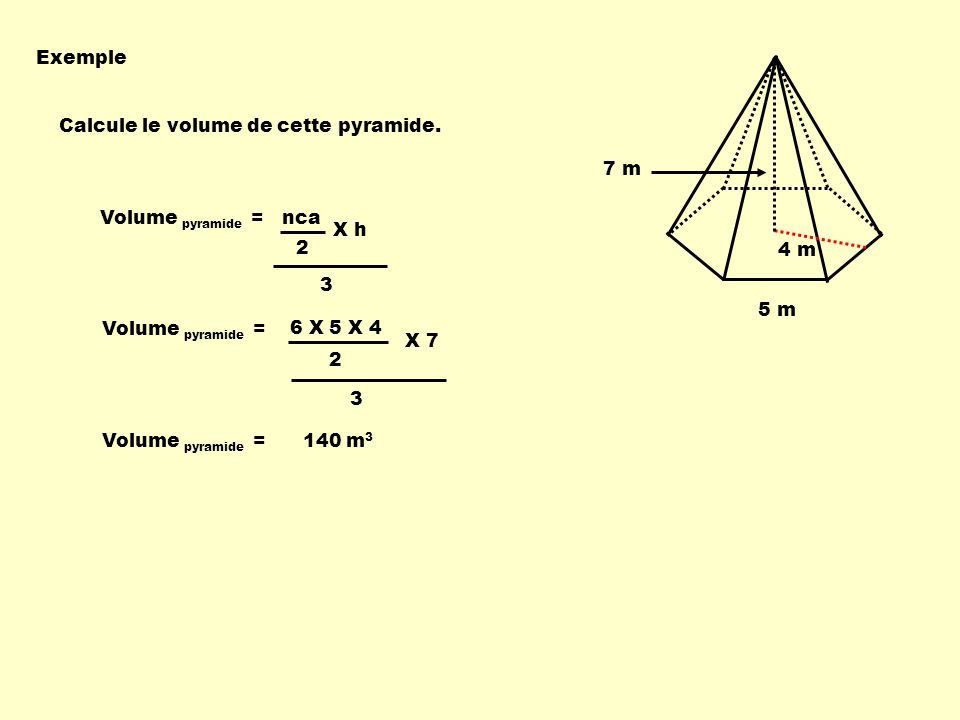 6 X 5 X 4 Volume pyramide = nca 3 2 X h Exemple Calcule le volume de cette pyramide. 4 m 5 m 7 m Volume pyramide = 3 2 X 7 Volume pyramide = 140 m 3
