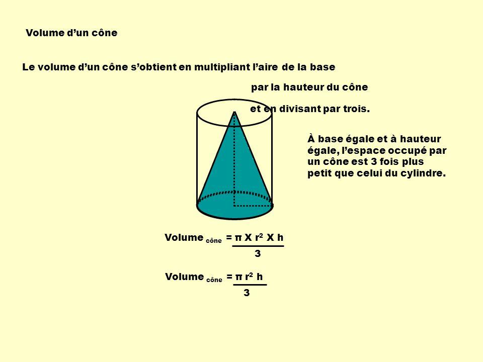 Volume dun cône Le volume dun cône sobtient en multipliant laire de la base par la hauteur du cône Volume cône = π X r 2 X h 3 Volume cône = π r 2 h 3