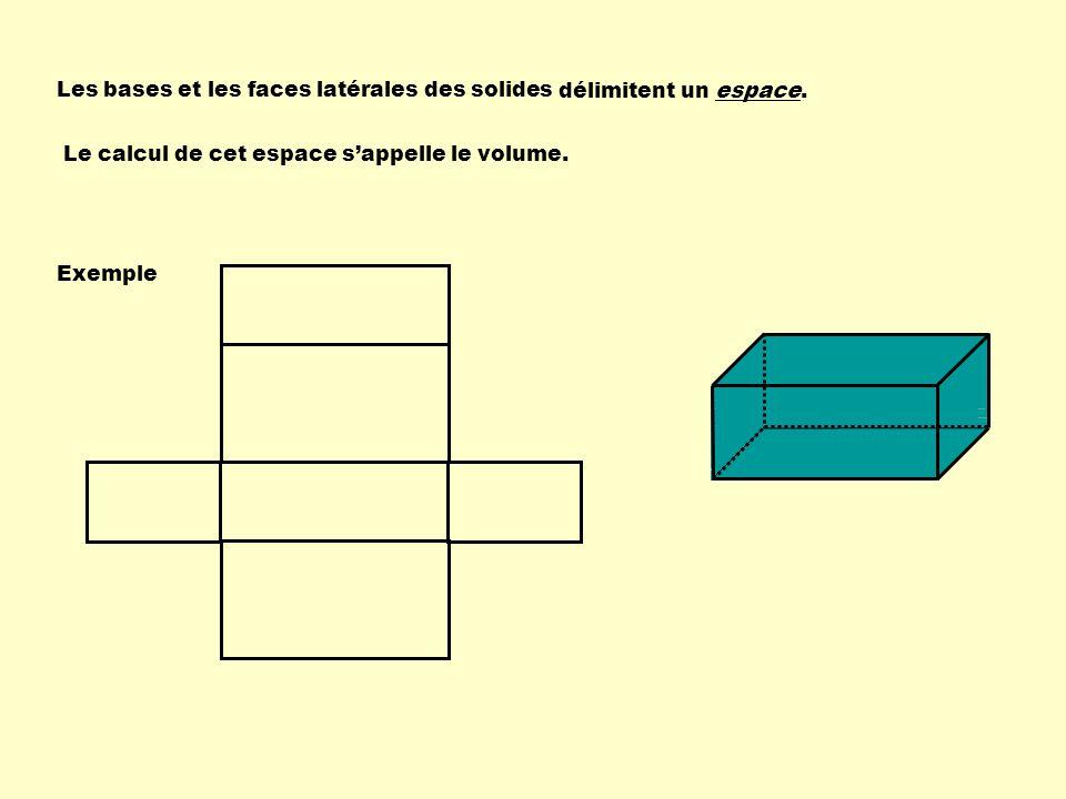 Les bases et les faces latérales des solides Le calcul de cet espace sappelle le volume. délimitent un espace. Exemple
