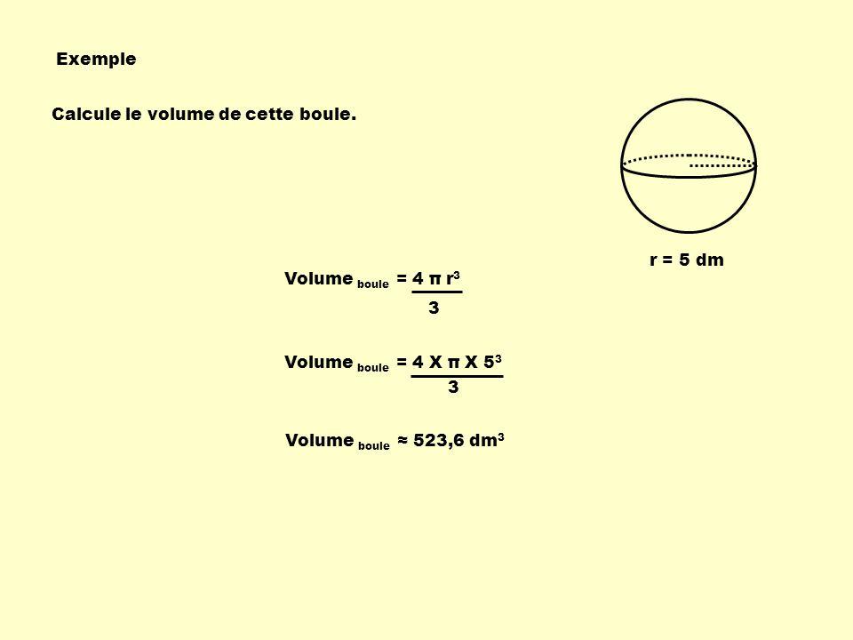 Exemple Calcule le volume de cette boule. r = 5 dm Volume boule = 4 π r 3 3 Volume boule = 4 X π X 5 3 3 Volume boule 523,6 dm 3