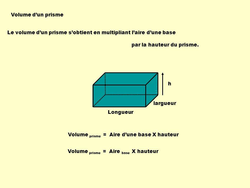 Volume dun prisme Le volume dun prisme sobtient en multipliant laire dune base par la hauteur du prisme. h Volume prisme = Aire dune base X hauteur Vo