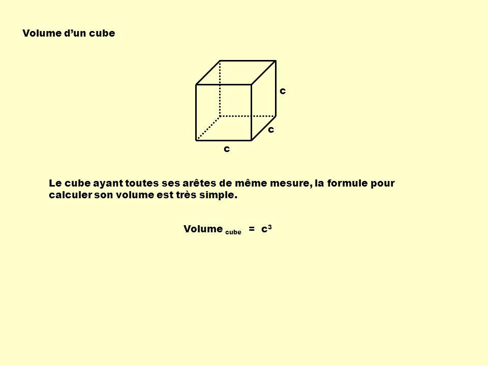 Volume dun cube c c c Le cube ayant toutes ses arêtes de même mesure, la formule pour calculer son volume est très simple. Volume cube = c 3