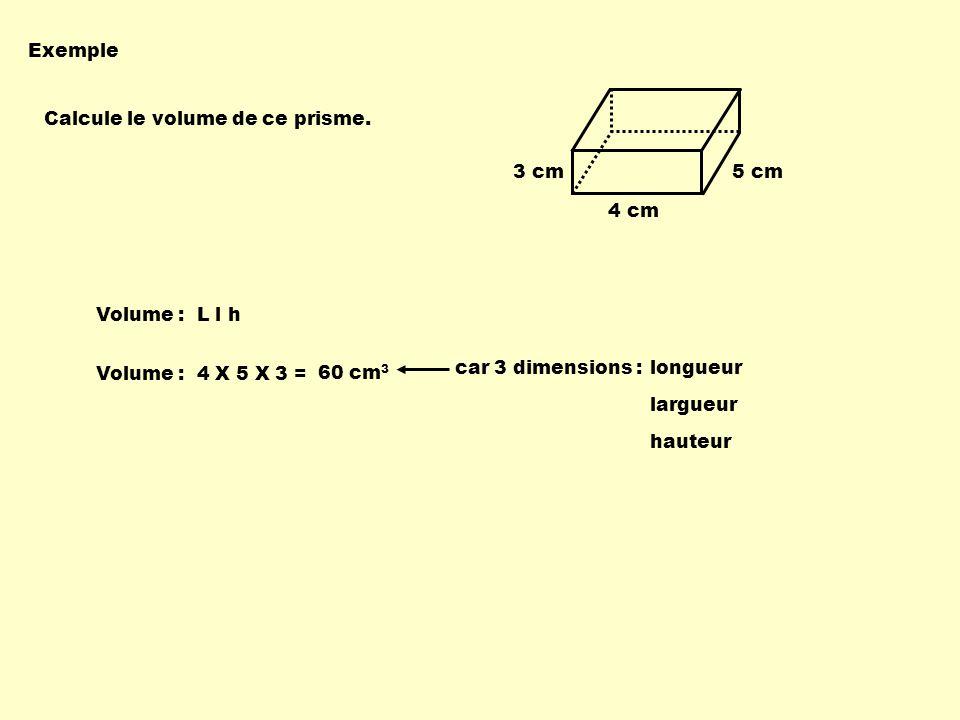 Exemple Calcule le volume de ce prisme. 4 cm 5 cm3 cm Volume : L l h Volume : 4 X 5 X 3 = 60 cm 3 car 3 dimensions : longueur largueur hauteur