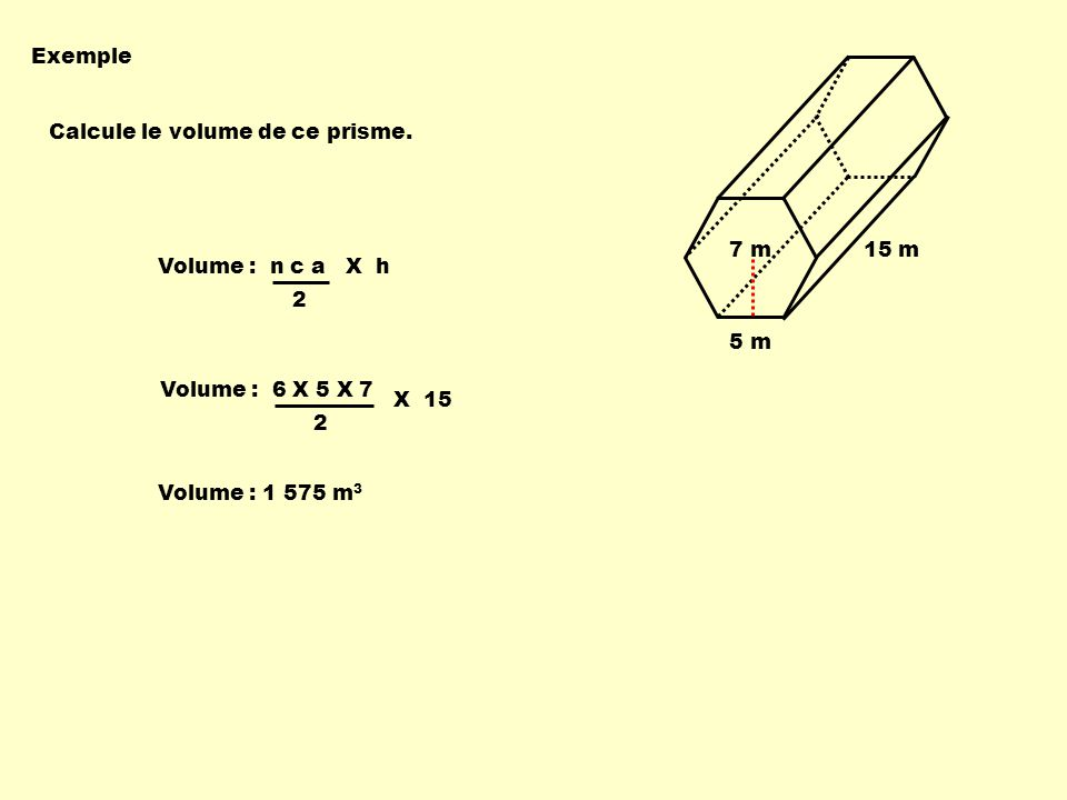 Volume : 6 X 5 X 7 2 Volume : n c a X h 2 X 15 Exemple Calcule le volume de ce prisme. 5 m 7 m15 m Volume : 1 575 m 3