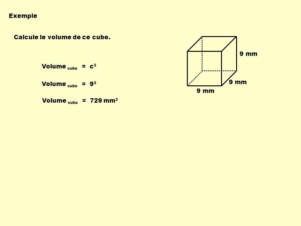 Exemple Calcule le volume de ce cube. Volume cube = c 3 Volume cube = 9 3 9 mm Volume cube = 729 mm 3