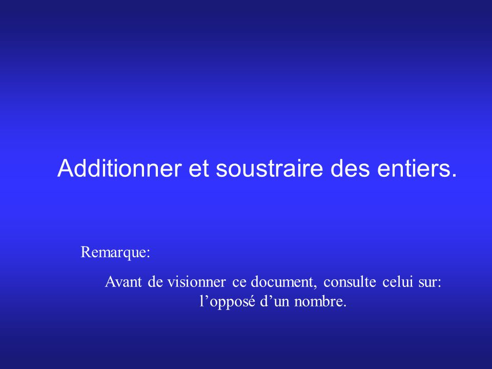 Additionner et soustraire des entiers.