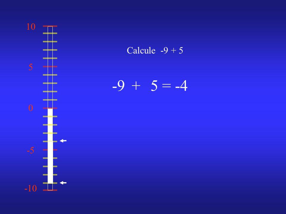 0 10 -10 -5 5 Calcule -9 + 5 -95= -4+