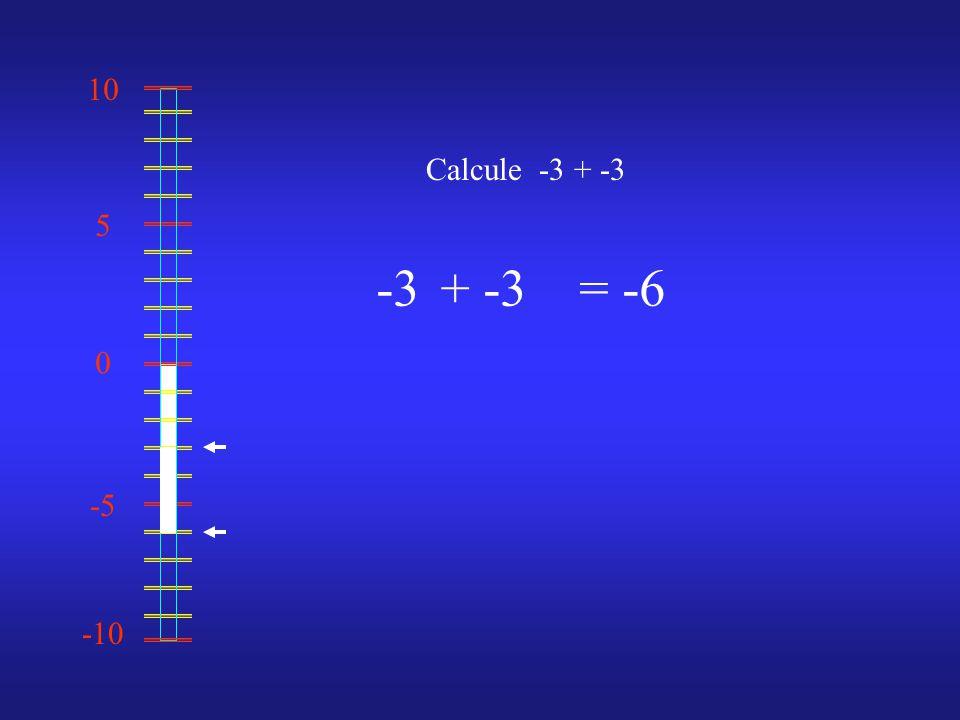 0 10 -10 -5 5 Calcule -3 + -3 -3 = -6 +