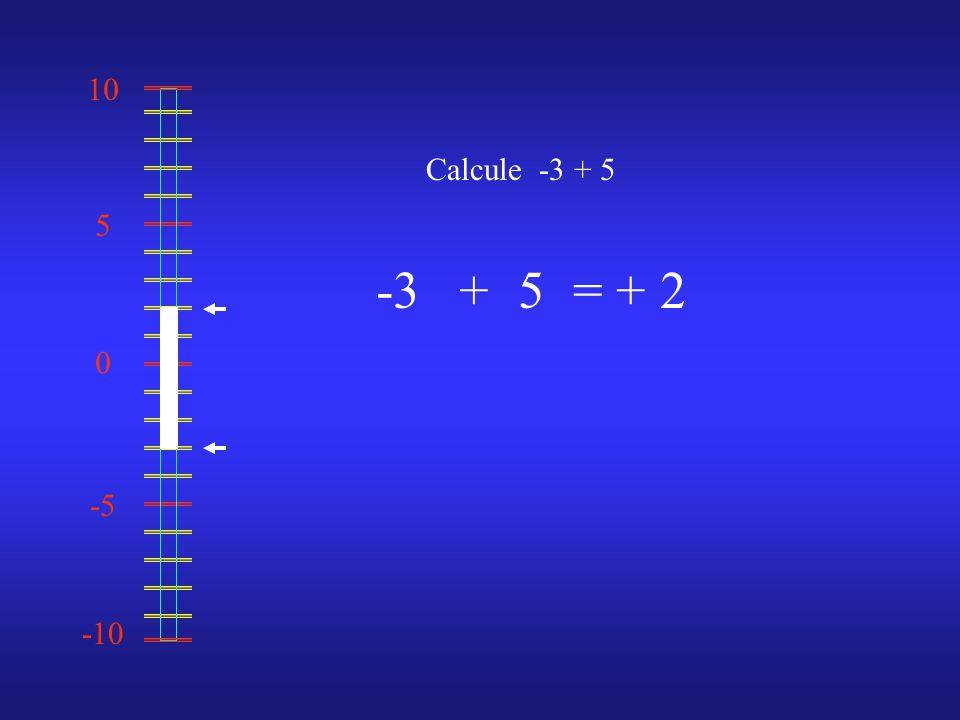 0 10 -10 -5 5 Calcule -3 + 5 -35 = + 2+