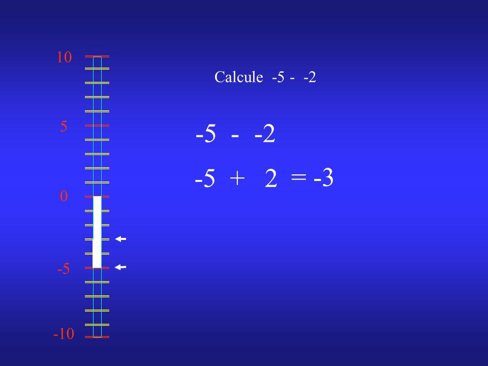 0 10 -10 -5 5 Calcule -5 - -2 -5--2 = -3 -5+2