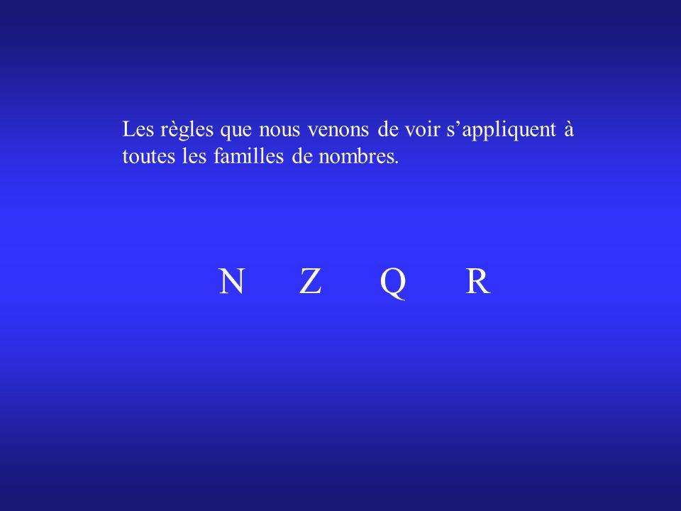 Les règles que nous venons de voir sappliquent à toutes les familles de nombres. N ZQR