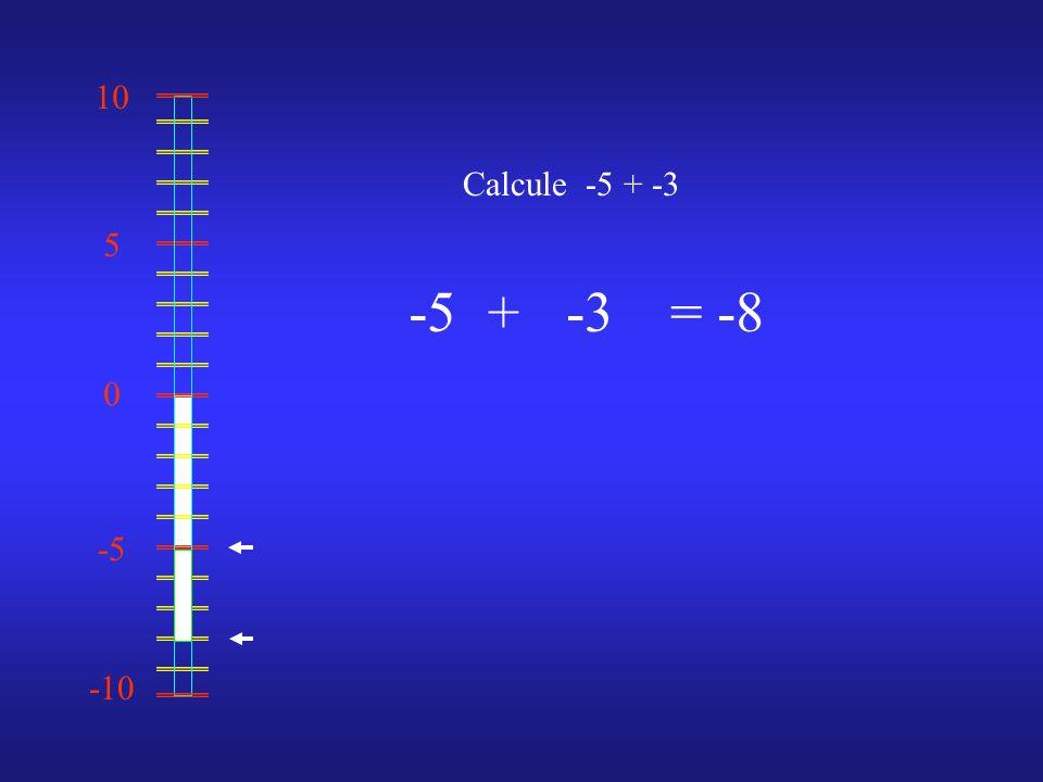 0 10 -10 -5 5 Calcule -5 + -3 -5-3= -8 +