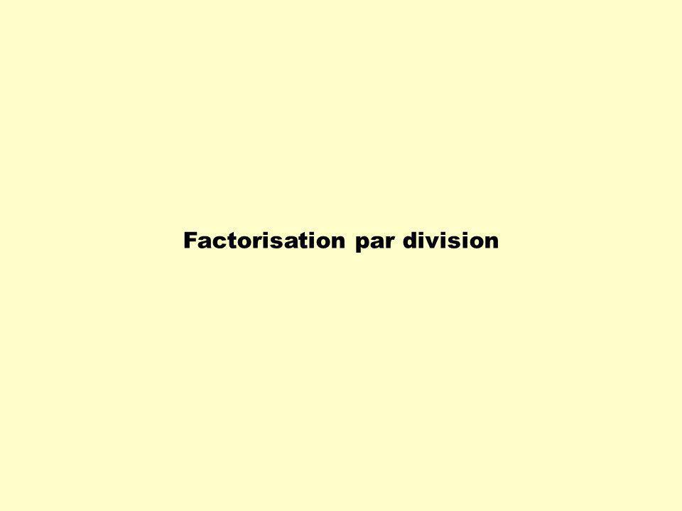 0 ( 6x 3 + 9x 2 – 12x ) 3x Exemple: 6x 3 + 9x 2 – 12x 3x 2x 2 6x 3 - 0 + 9x 2 – 12x + 3x 9x 2 - – 12x - 4 – 12x + + - 0 Comme il ny a pas de reste dans cette division, on conclut que 3x et ( 2x 2 + 3x – 4 ) sont deux facteurs de ( 6x 3 + 9x 2 – 12x ).