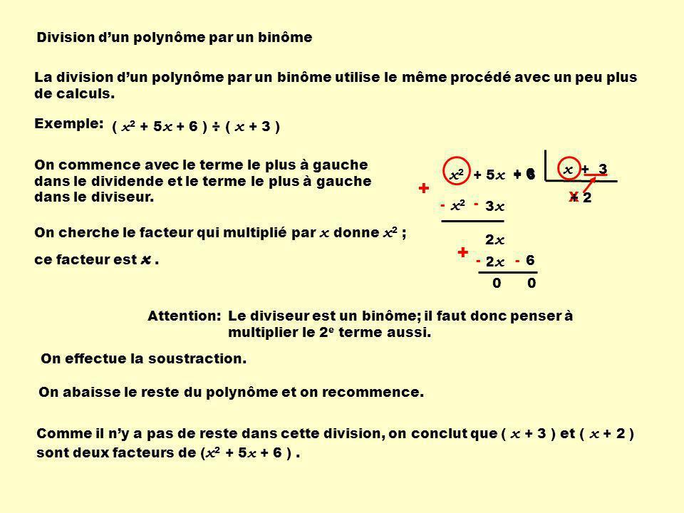 Division dun polynôme par un binôme La division dun polynôme par un binôme utilise le même procédé avec un peu plus de calculs. Exemple: ( x 2 + 5 x +