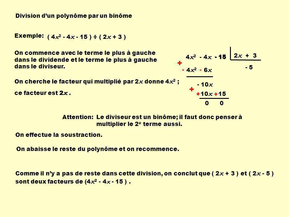 Division dun polynôme par un binôme Exemple: ( 4 x 2 - 4 x - 15 ) ÷ ( 2 x + 3 ) 4 x 2 - 4 x - 15 2 x + 3 On commence avec le terme le plus à gauche da