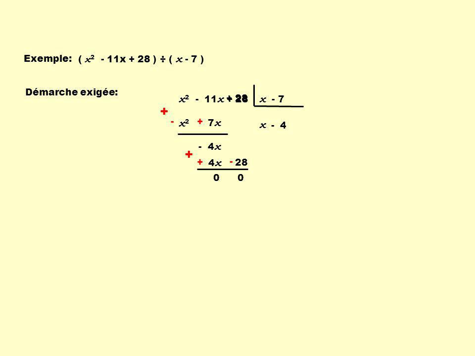 Exemple: ( x 2 - 11x + 28 ) ÷ ( x - 7 ) x2x2 - 7 x + -+ - - 4 x x 2 - 11 x + 28 x - 7 - 4 - 4 x + 28 + - + - x Démarche exigée: + 28 0