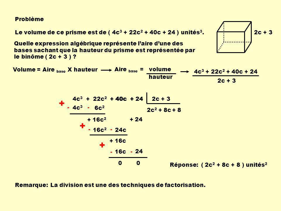 2c + 3 Problème Le volume de ce prisme est de ( 4c 3 + 22c 2 + 40c + 24 ) unités 3. Quelle expression algébrique représente laire dune des bases sacha