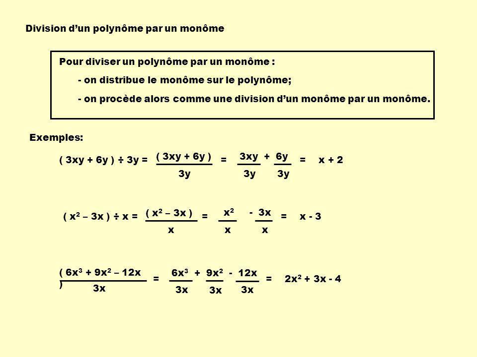 Division dun polynôme par un monôme Exemples: ( 3xy + 6y ) ÷ 3y = ( 3xy + 6y ) 3y = 3xy + 6y 3y = x + 2 ( x 2 – 3x ) ÷ x = ( x 2 – 3x ) x = x 2 - 3x x