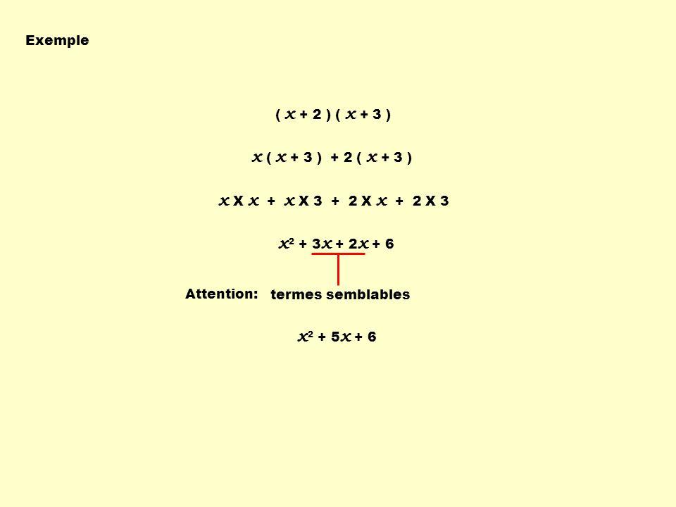 Exemple ( x + 2 ) ( x + 3 ) x ( x + 3 ) + 2 ( x + 3 ) x X x + x X 3 + 2 X x + 2 X 3 x 2 + 3 x + 2 x + 6 Attention: termes semblables x 2 + 5 x + 6