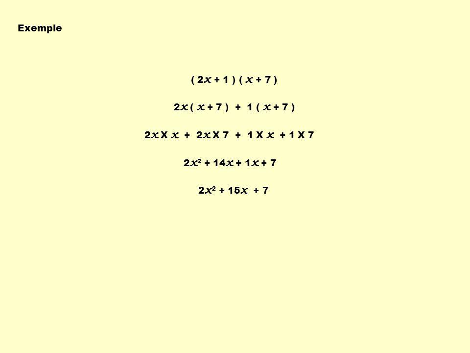 Exemple (2a – 4 ) (2a + 3 ) 2a ( 2a + 3 ) - 4 ( 2a + 3 ) 2a X 2a + 2a X 3 - 4 X 2a - 4 X 3 4a 2 + 6a - 8a - 12 4a 2 - 2a - 12