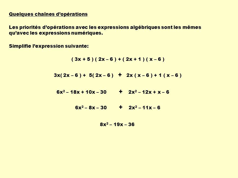 Quelques chaînes dopérations Les priorités dopérations avec les expressions algébriques sont les mêmes quavec les expressions numériques. ( 3x + 5 ) (