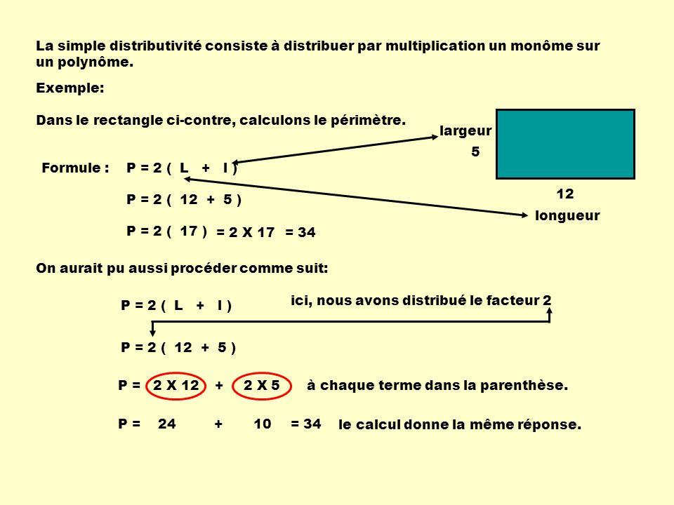 La simple distributivité consiste à distribuer par multiplication un monôme sur un polynôme. Exemple: 5 12 Dans le rectangle ci-contre, calculons le p