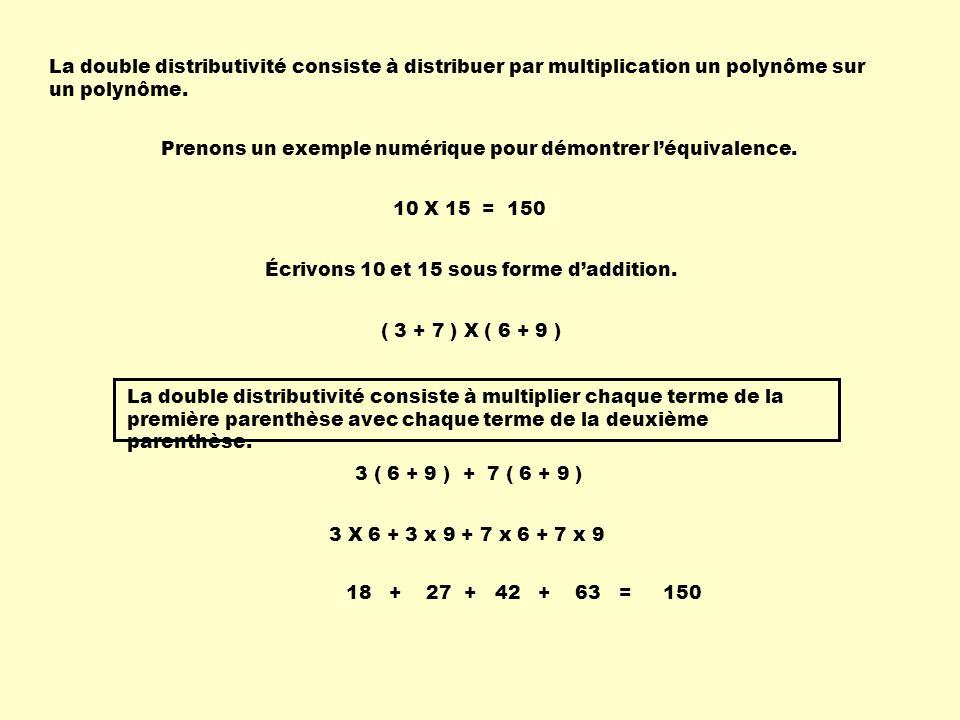 La double distributivité consiste à distribuer par multiplication un polynôme sur un polynôme. Prenons un exemple numérique pour démontrer léquivalenc
