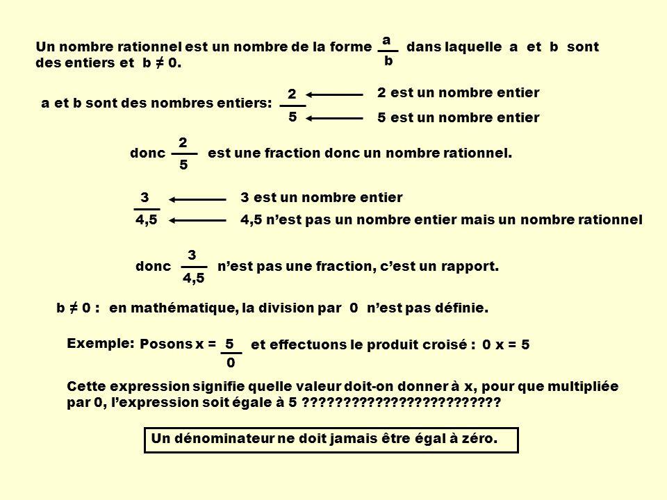 Un nombre rationnel est un nombre de la forme dans laquelle a et b sont des entiers et b 0. a b a et b sont des nombres entiers: 2 5 2 est un nombre e
