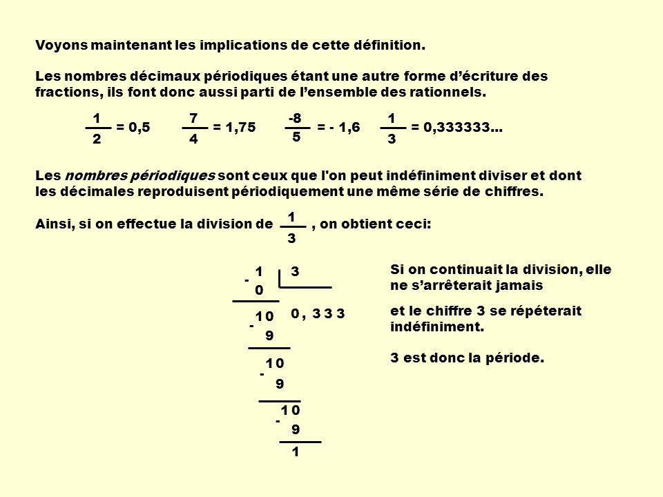 Voyons maintenant les implications de cette définition. Les nombres décimaux périodiques étant une autre forme décriture des fractions, ils font donc