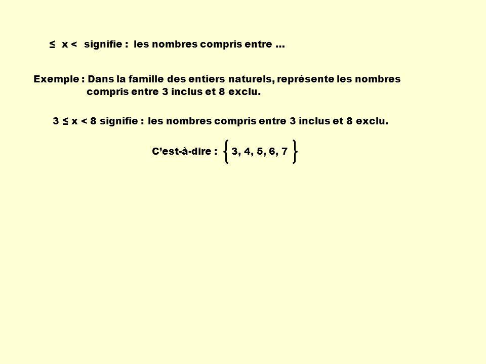 x <signifie :les nombres compris entre … Exemple : Dans la famille des entiers naturels, représente les nombres compris entre 3 inclus et 8 exclu. 3,