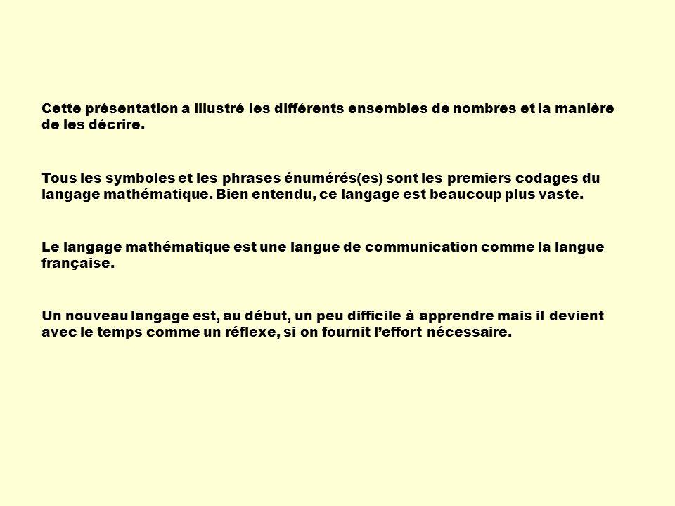 Cette présentation a illustré les différents ensembles de nombres et la manière de les décrire. Le langage mathématique est une langue de communicatio