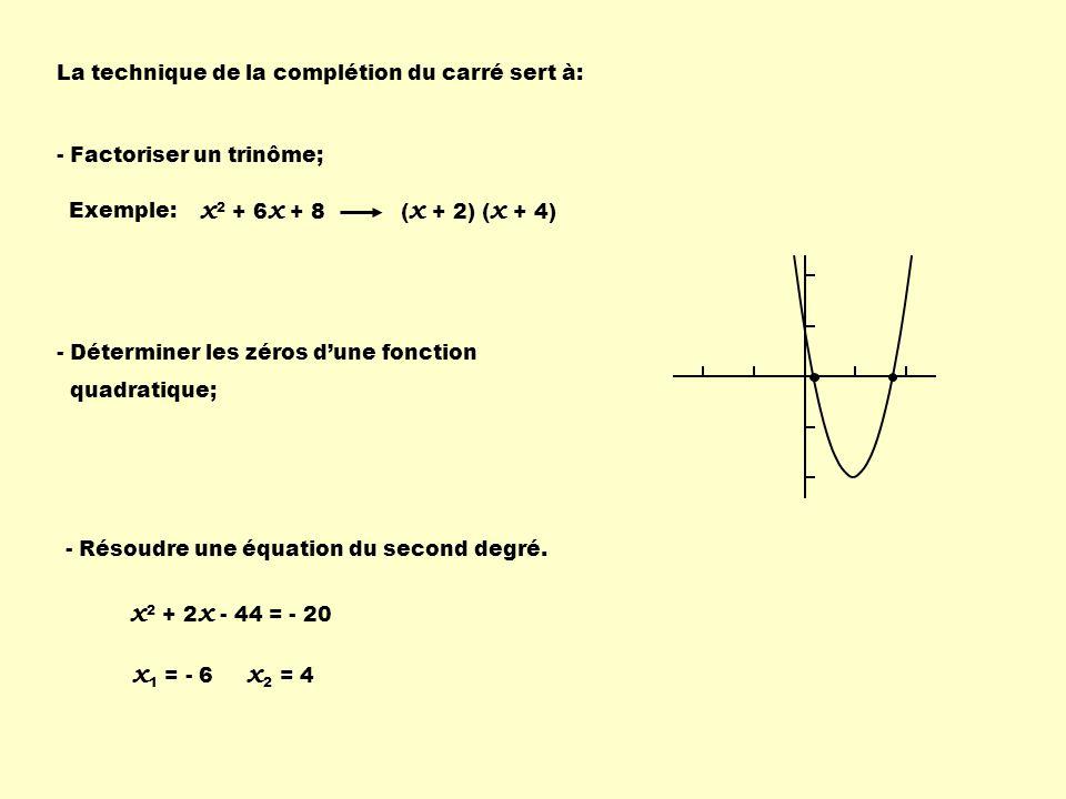 2 x 2 – x 1 4 - 120 1 4 + 4 - 5) On regroupe le tout: 6) On factorise le trinôme carré parfait: 7) On factorise par une différence de carré: 1 4 - 2 x 2 – x - 30 1 4 + 11 2 x 1 2 - en se souvenant quune différence de carrés provient defacteurs conjugués, x 1 2 - - 121 4 2 2 x 1 2 - - 4 2 2 2
