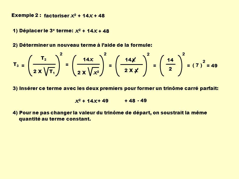 5) On regroupe le tout: x 2 + 14 x + 49 + 48 - 49 x 2 + 14 x + 49 - 1( ) 6) On factorise le trinôme carré parfait: ( x + 7 ) 2 - 1 7) On factorise par une différence de carré: ( x + 7 ) 2 - 1 ( x + 7 ) 1 en se souvenant quune différence de carrés provient defacteurs conjugués, ( ( x + 7 ) - 1 ) ( ( x + 7 ) + 1 ) 8) On complète les calculs: ( x + 7 - 1 ) ( x + 7 + 1 ) ( x + 6 ) ( x + 8 )