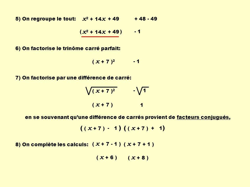 Exemple 3 : factoriser x 2 + 8 x - 9 x 2 + 8 x 1) Déplacer le 3 e terme: - 9 2) Déterminer un nouveau terme à laide de la formule: T2T2 2 X T 1 2 T 3 = 8x8x 2 X x 2 2 = = 8x8x 2 X x 2 8 2 2 = = 2 ( 4 ) = 16 3) Insérer ce terme avec les deux premiers pour former un trinôme carré parfait: x 2 + 8 x + 16 - 9 4) Pour ne pas changer la valeur du trinôme de départ, on soustrait la même quantité au terme constant.