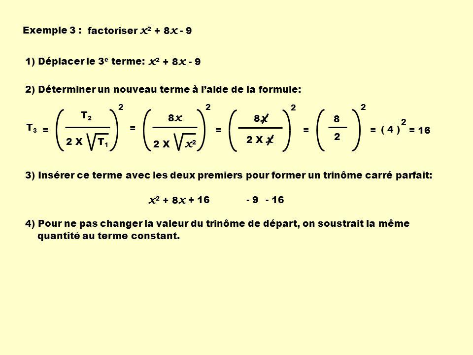 5) On regroupe le tout: x 2 + 8 x + 16 -9 - 16 x 2 + 8 x + 16 - 25( ) 6) On factorise le trinôme carré parfait: ( x + 4 ) 2 - 25 7) On factorise par une différence de carré: ( x + 4 ) 2 - 25 ( x + 4 ) 5 en se souvenant quune différence de carrés provient defacteurs conjugués, ( ( x + 4 ) - 5 ) ( ( x + 4 ) + 5 ) 8) On complète les calculs: ( x + 4 - 5 ) ( x + 4 + 5 ) ( x - 1 ) ( x + 9 )