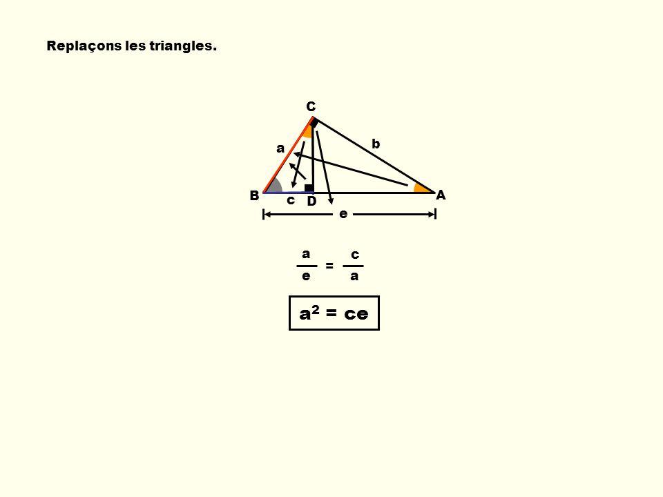 b e B C A a Replaçons les triangles. a c e a a 2 = ce = c D