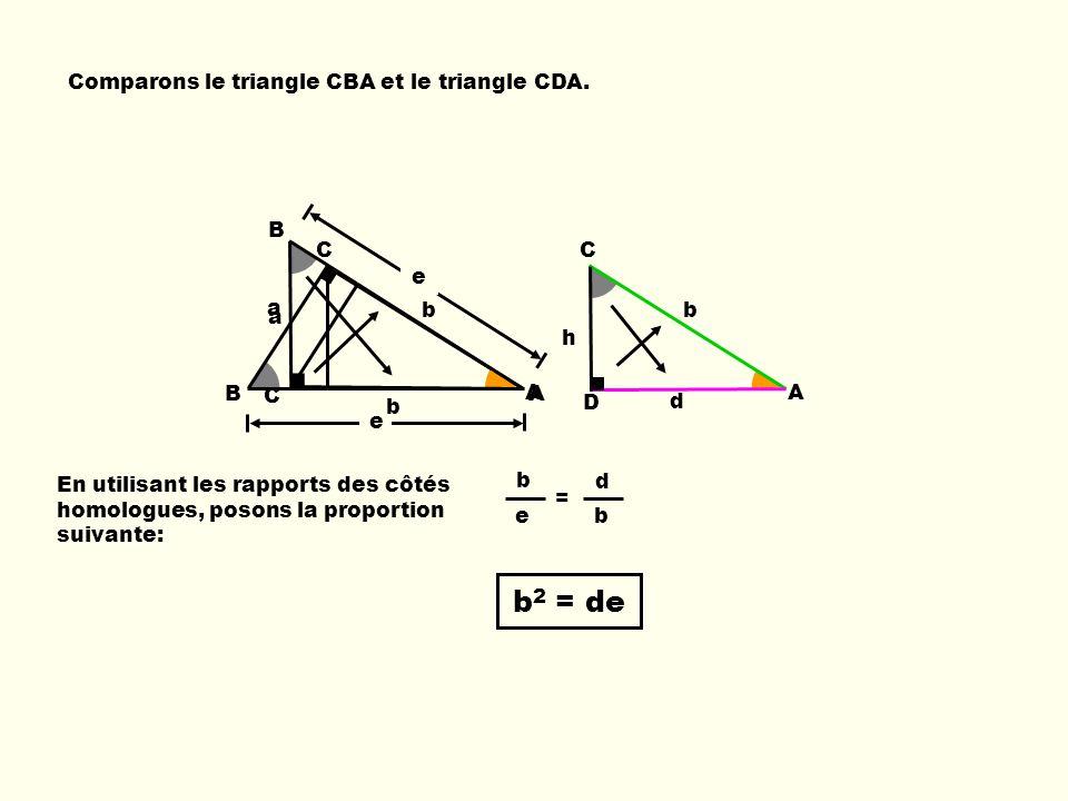 C A D b d h Comparons le triangle CBA et le triangle CDA. b e B C A a = En utilisant les rapports des côtés homologues, posons la proportion suivante: