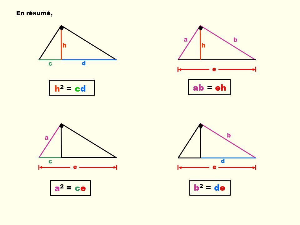En résumé, e c a b e d c d h h 2 = cd ab = eh a 2 = ceb 2 = de e h a b
