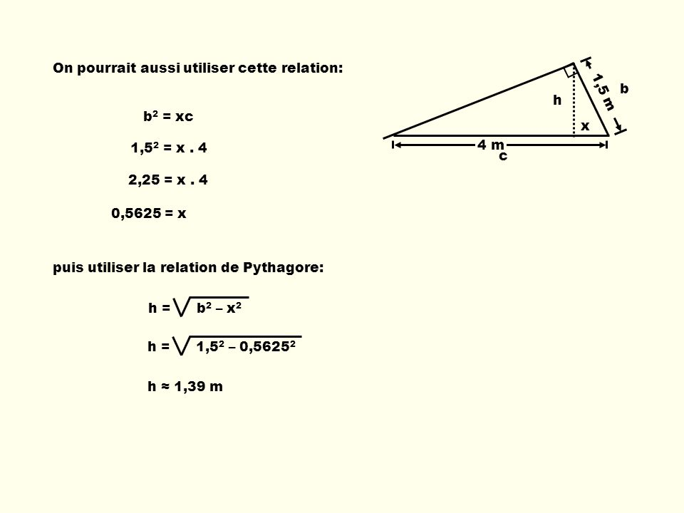 1,5 m 4 m On pourrait aussi utiliser cette relation: h b c x b 2 = xc 1,5 2 = x. 4 2,25 = x. 4 0,5625 = x puis utiliser la relation de Pythagore: h =