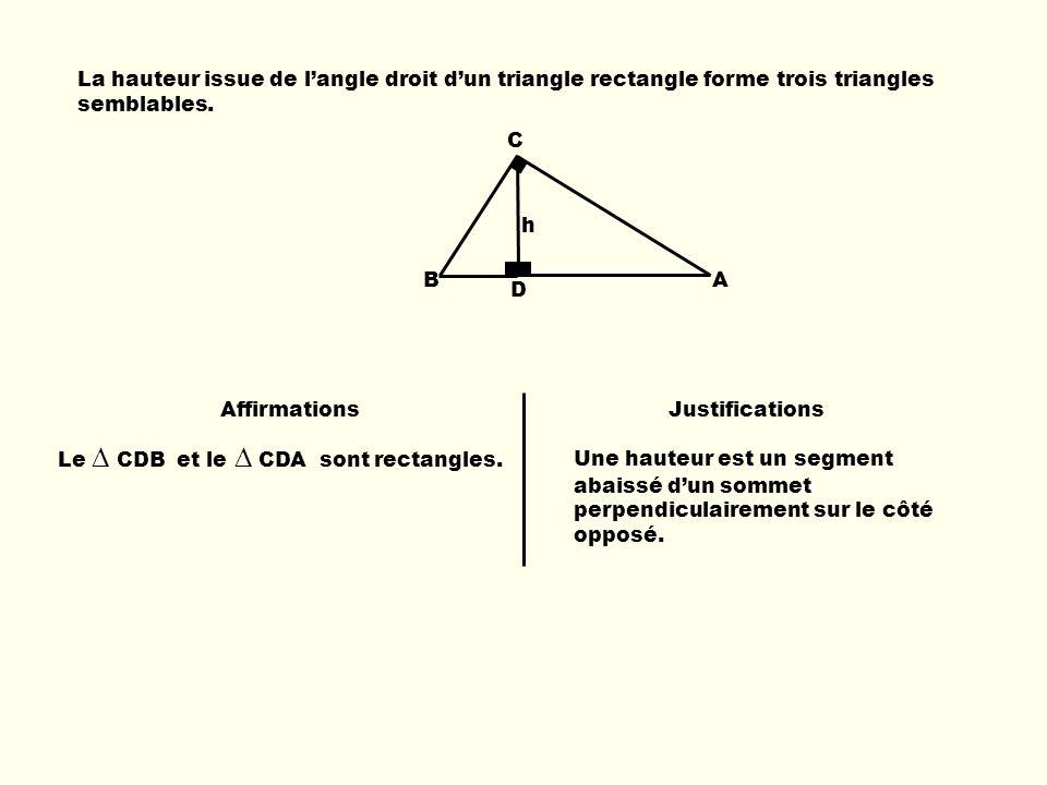 La hauteur issue de langle droit dun triangle rectangle forme trois triangles semblables. AffirmationsJustifications Le CDB et le CDA sont rectangles.