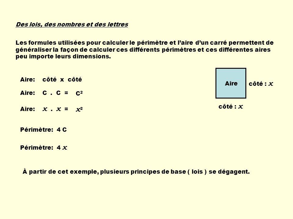 Des lois, des nombres et des lettres Les formules utilisées pour calculer le périmètre et laire dun carré permettent de généraliser la façon de calculer ces différents périmètres et ces différentes aires peu importe leurs dimensions.
