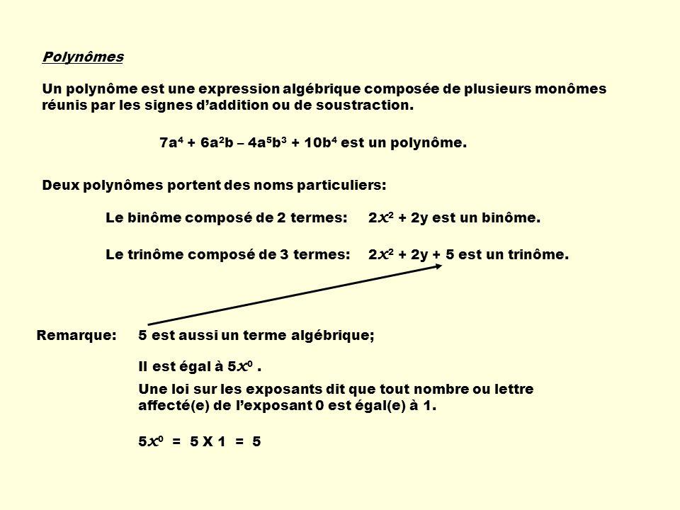 Termes semblables Des termes semblables possèdent 2 caractéristiques: - ils contiennent la (les) même(s) lettre(s) affectée(s) des mêmes exposants; - le coefficient na pas dimportance; il ne sert quà compter.