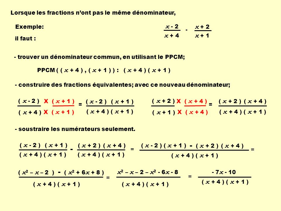 X ( x + 1 ) Lorsque les fractions nont pas le même dénominateur, PPCM ( ( x + 4 ), ( x + 1 ) ) : - trouver un dénominateur commun, en utilisant le PPCM; - construire des fractions équivalentes; avec ce nouveau dénominateur; ( x + 4 ) ( x + 1 ) = X ( x + 1 ) - soustraire les numérateurs seulement.