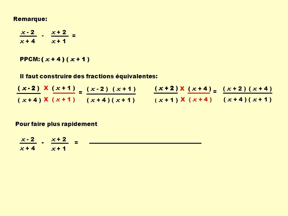 PPCM: ( x + 4 ) ( x + 1 ) - x + 1 x + 2 x + 4 x - 2 = = ( x + 4 ) ( x + 1 ) X ( x + 1 ) ( x - 2 ) ( x + 4 ) ( x - 2 )( x + 1 ) Pour faire plus rapidement ( x + 4 ) ( x + 1 ) - - x + 1 x + 2 x + 4 x - 2 = Remarque: Il faut construire des fractions équivalentes: X ( x + 4 ) = ( x + 4 ) ( x + 1 ) X ( x + 4 ) ( x + 2 ) ( x + 1 ) ( x + 2 )( x + 4 ) ( x + 1 ) ( x - 2 ) ( x + 2 ) ( x + 4 )
