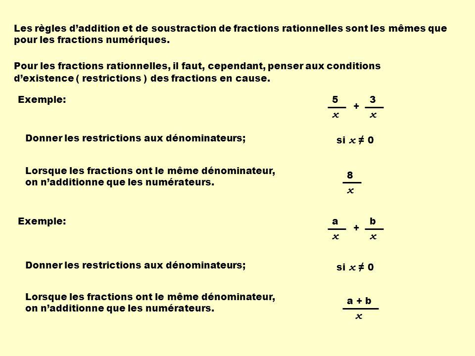 Les règles daddition et de soustraction de fractions rationnelles sont les mêmes que pour les fractions numériques.